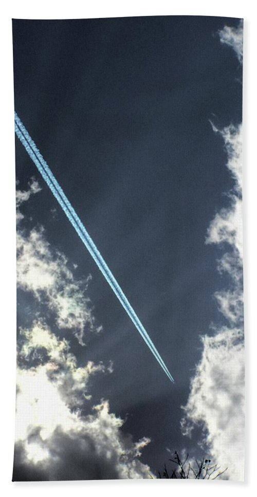 Jet Beach Towel featuring the photograph Blue Contrail by Shannon Story