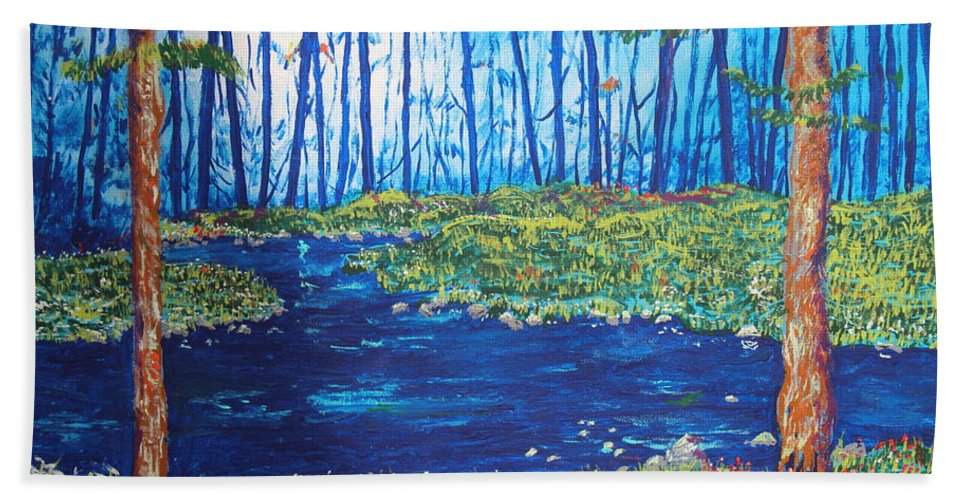 Landscape Beach Towel featuring the painting Blue Day Stream by Stefan Duncan