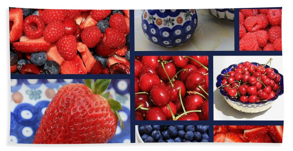 Fruit Beach Towel featuring the photograph Blue Dishes And Fruit Collage by Carol Groenen