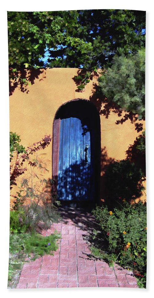 Blue Door Beach Towel featuring the photograph Blue Door At Old Mesilla by Kurt Van Wagner