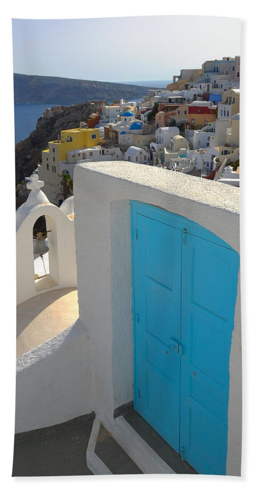 Island Beach Towel featuring the photograph Blue Door Of Oia by Jack Daulton
