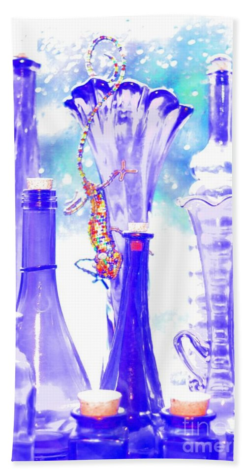 Bead And Wire Gecko Beach Towel featuring the photograph Blue Glass And Gecko by Jeremy Hayden
