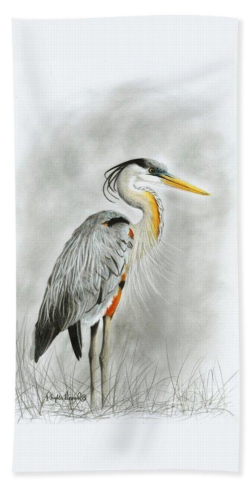 Heron Beach Towel featuring the drawing Blue Heron 3 by Phyllis Howard