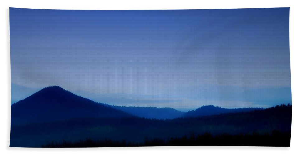 Mountains Beach Towel featuring the photograph Blue Horizon by Donna Blackhall