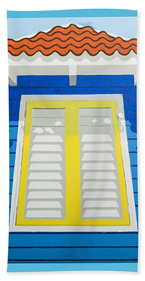 Caribbean House Architecture Sun Painting Blue Curacao Aruba Antilles Beach Towel featuring the painting Blue House by Trudie Canwood