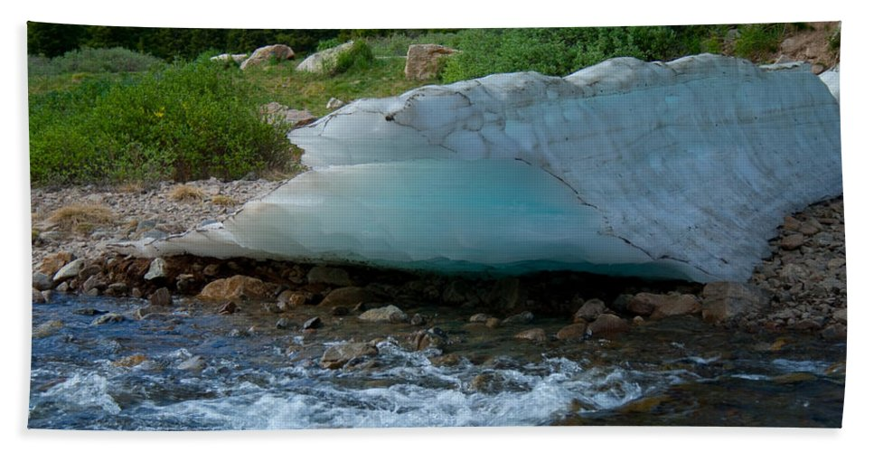 Blue Ice Beach Towel featuring the photograph Blue Ice by Angus Hooper Iii