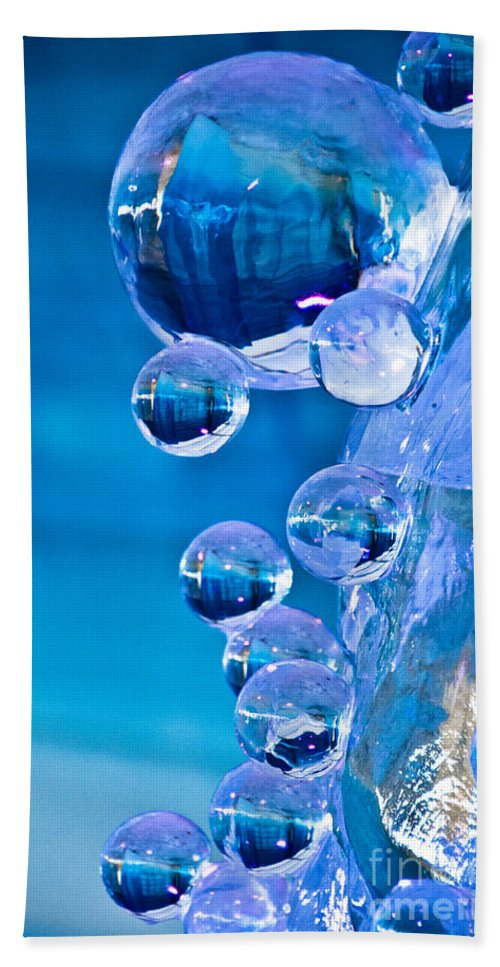 Winterlude Beach Towel featuring the photograph Blue Ice Bubbles by Cheryl Baxter