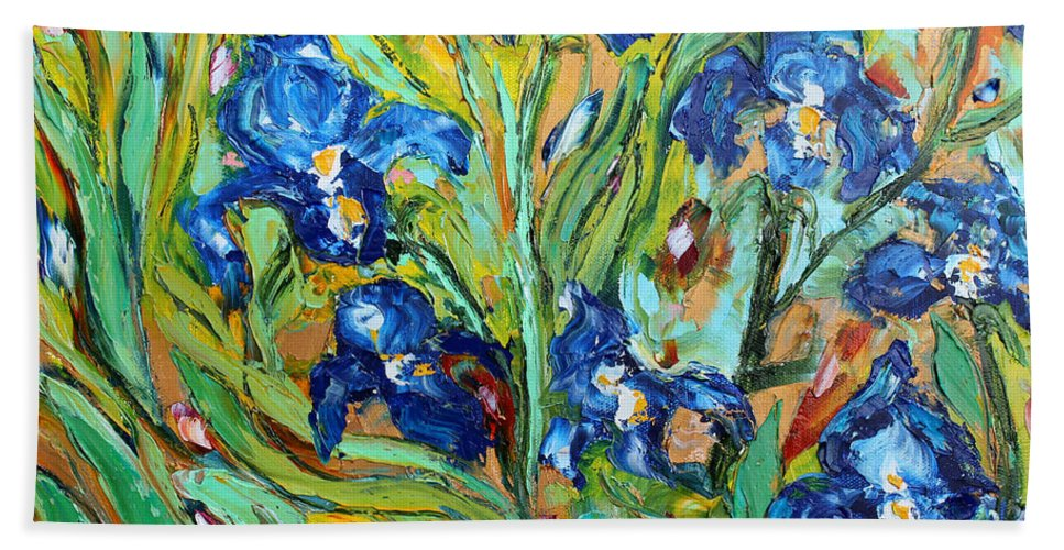 Iris Paintings Beach Towel featuring the painting Blue Iris by Karen Tarlton