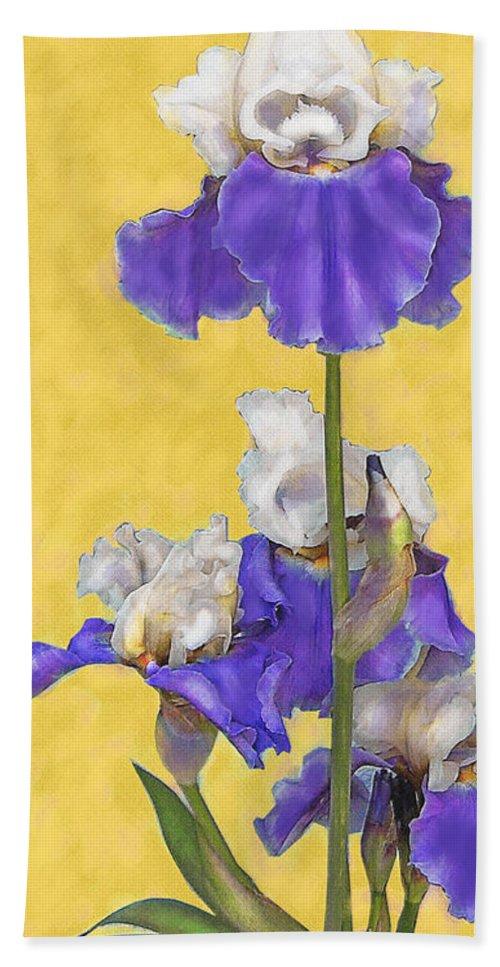 Jane Schnetlage Beach Towel featuring the digital art Blue Iris On Gold by Jane Schnetlage