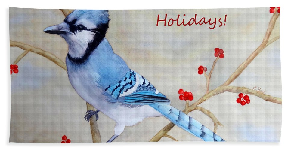 Blue Jay Beach Towel featuring the painting Blue Jay Happy Holidays by Laurel Best