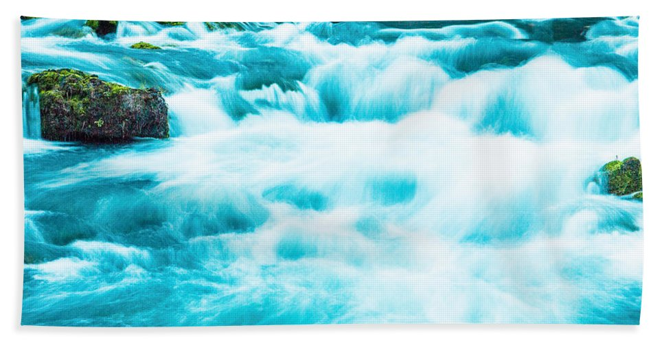 Made In America Beach Towel featuring the photograph Blue Lagoon by Steven Bateson