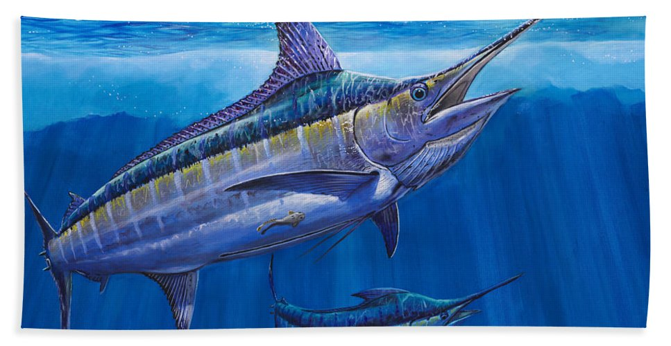 Blue Marlin Beach Towel featuring the painting Blue Marlin Bite Off001 by Carey Chen