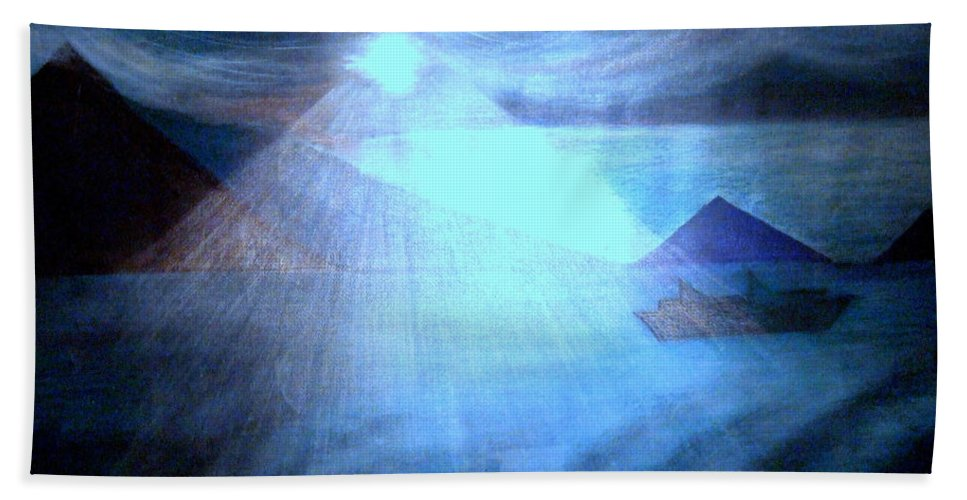 Moon Beach Towel featuring the painting Blue Moon Sailing by Kumiko Mayer