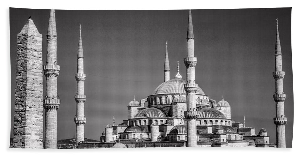 Istanbul Beach Towel featuring the photograph Blue Mosque Black And White by For Ninety One Days
