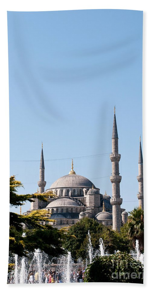 Istanbul Beach Towel featuring the photograph Blue Mosque Blue Sky 02 by Rick Piper Photography