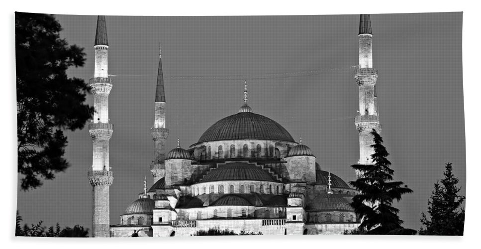 Ancient Beach Towel featuring the photograph Blue Mosque In Black And White by Stephen Stookey