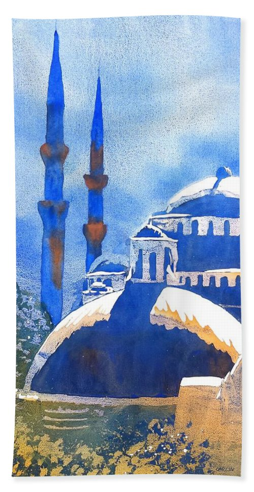 Turkey Beach Towel featuring the painting Blue Mosque In Blues by Carlin Blahnik CarlinArtWatercolor