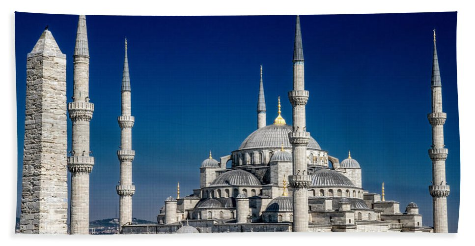 Istanbul Beach Towel featuring the photograph Blue Mosque In Istanbul by For Ninety One Days