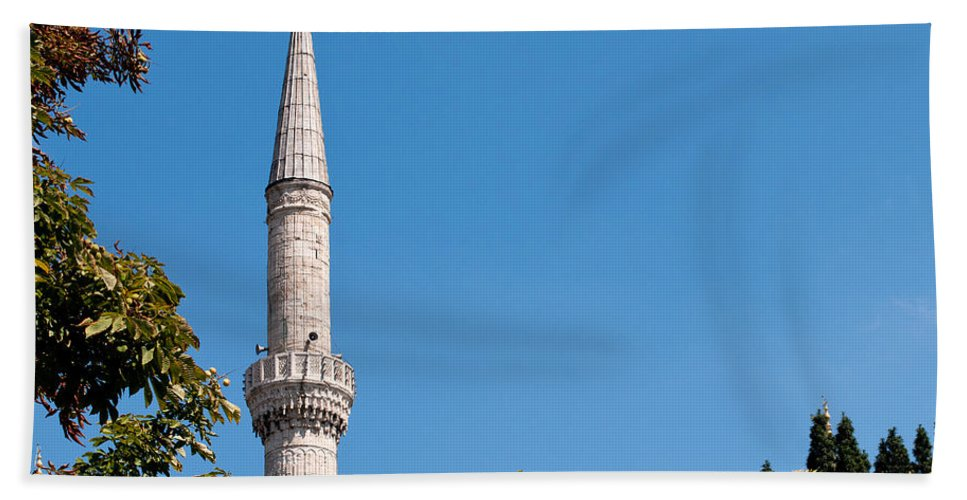 Istanbul Beach Towel featuring the photograph Blue Mosque Minaret 01 by Rick Piper Photography