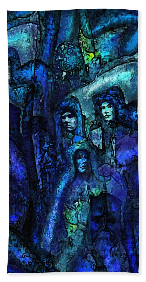 Fantasy Beach Towel featuring the digital art Blue O'clock Cloisters by Jane Schnetlage