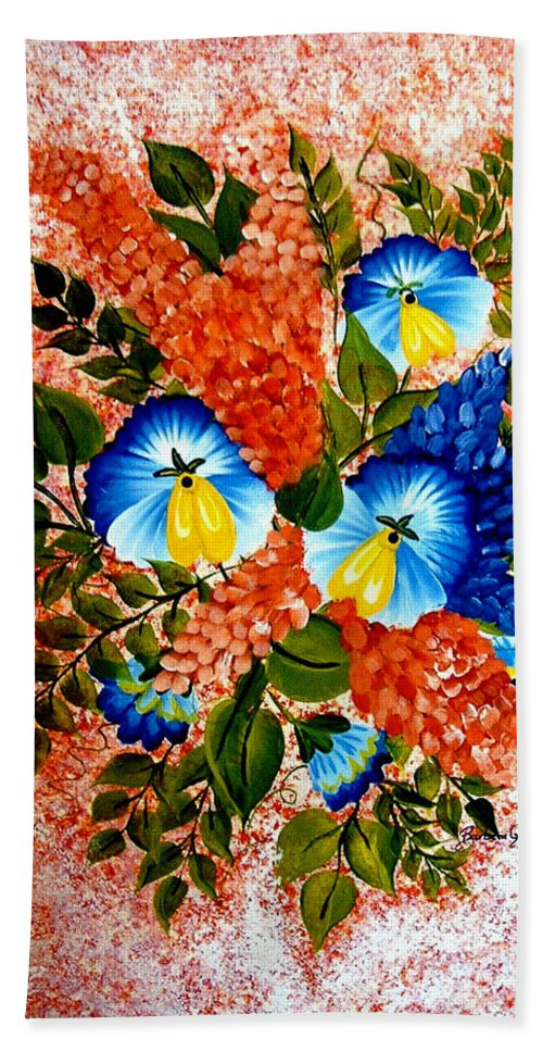 Blue Pansies Beach Towel featuring the painting Blue Pansies Bouquet by Barbara Griffin