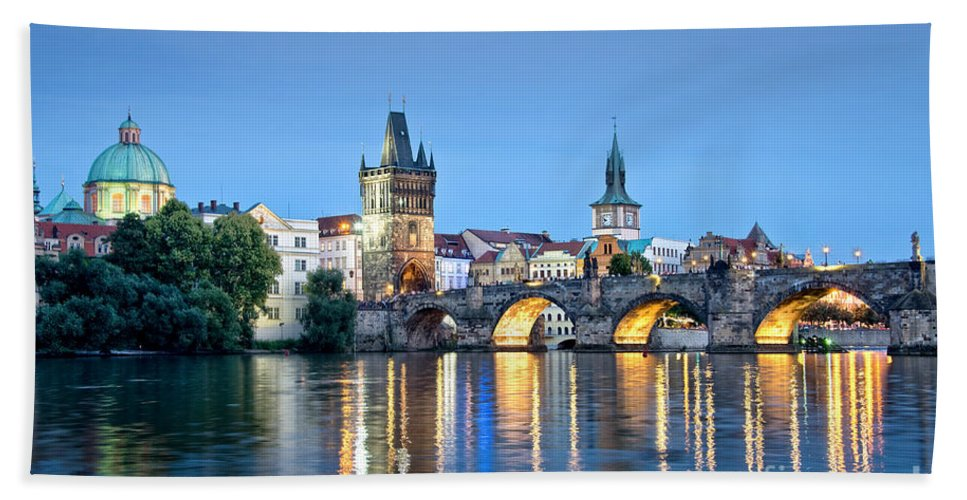 Prague Beach Sheet featuring the photograph Blue Prague by Delphimages Photo Creations
