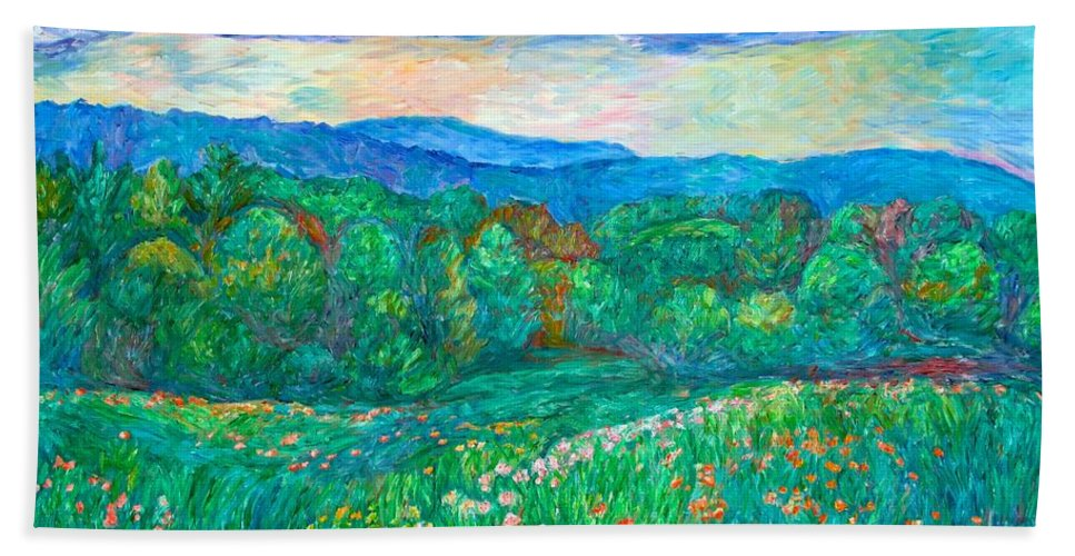 Landscapes Beach Towel featuring the painting Blue Ridge Meadow by Kendall Kessler