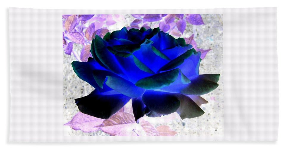 Blue Rose Beach Towel featuring the digital art Blue Rose by Will Borden