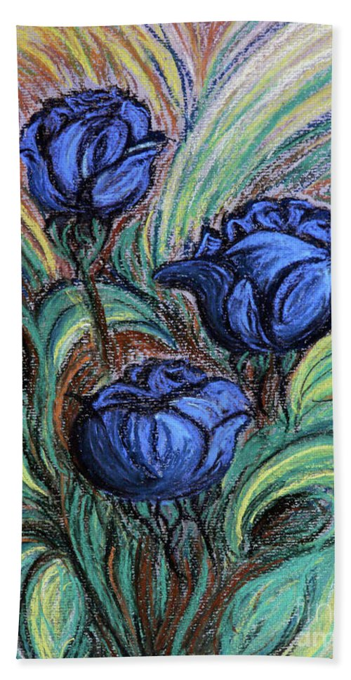 Flowers Beach Towel featuring the drawing Blue Roses by Jasna Dragun