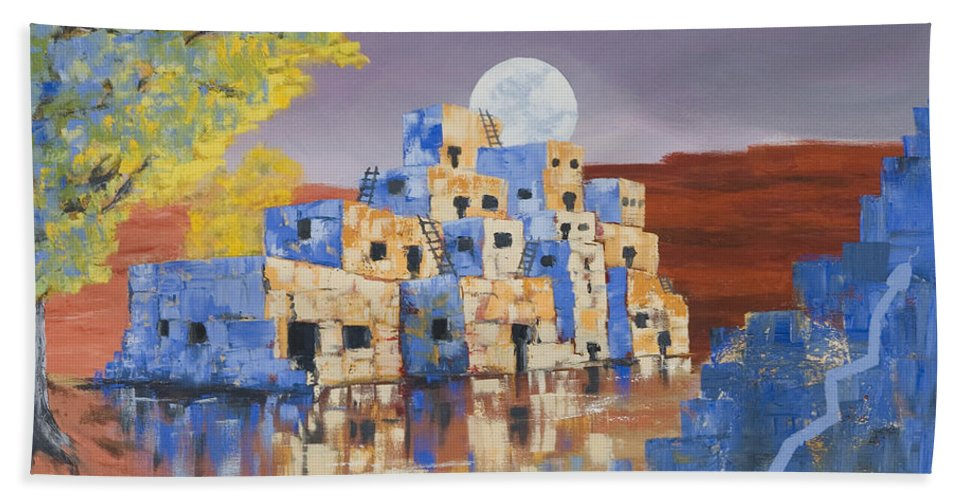 Landscape Beach Towel featuring the painting Blue Serpent Pueblo by Jerry McElroy