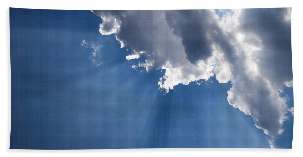 Blue Sky Beach Towel featuring the photograph Blue Sky And Sun Rays by Georgia Mizuleva