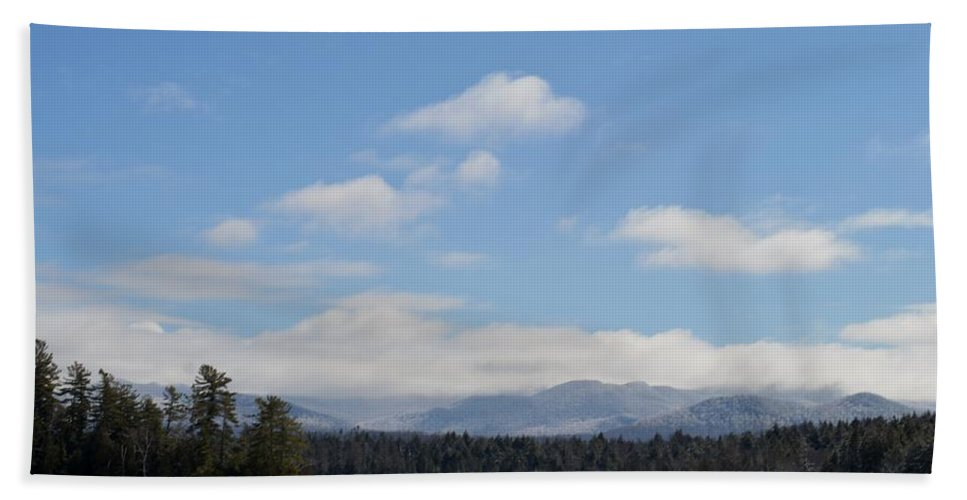Clouds Beach Towel featuring the photograph Blue Sky Day In The Adirondacks by Thomas Phillips