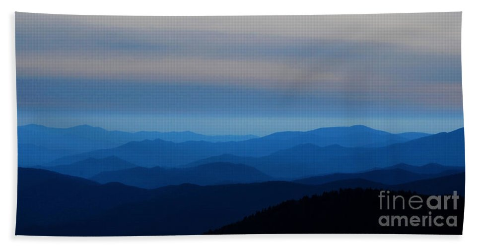 Mountains Beach Towel featuring the photograph Blue Smokies at Dusk by Nancy Mueller