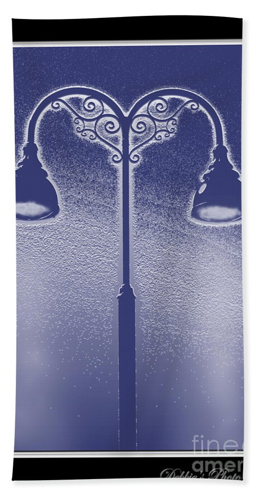 Arcictural Element Beach Towel featuring the photograph Blue Street Lights by Debbie Portwood