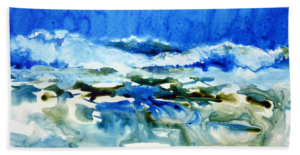 Ocean Beach Towel featuring the painting Blue Surf by Joan Hartenstein
