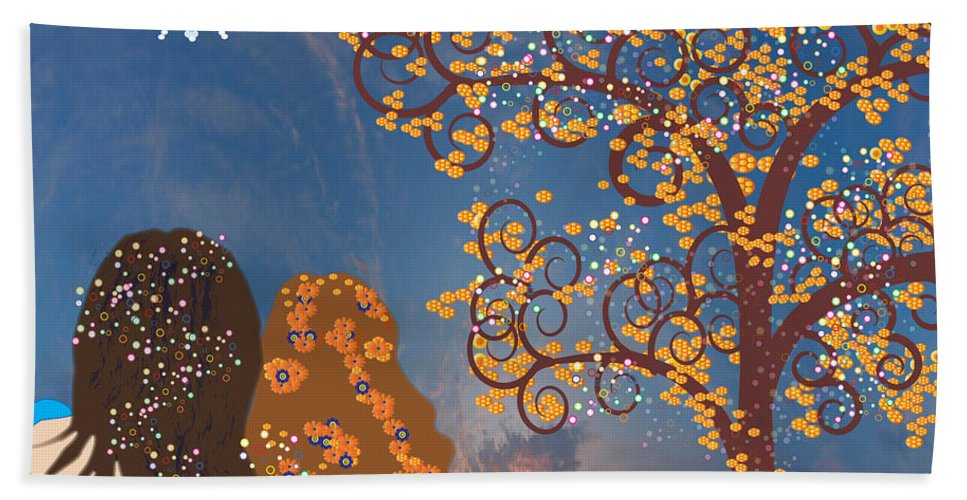 Tree Of Life Beach Towel featuring the digital art Blue Swirl Girls by Kim Prowse