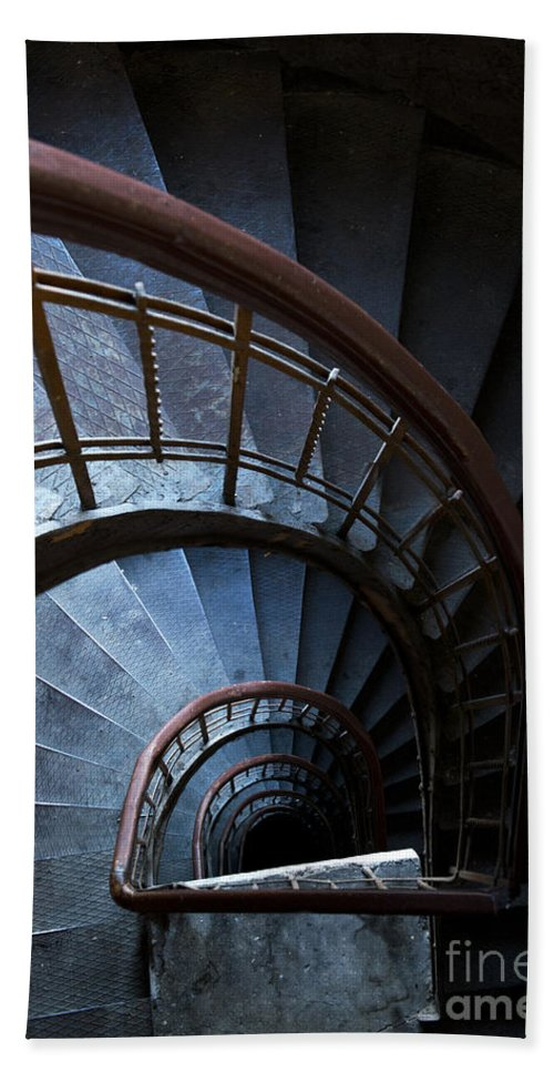 Blue Beach Towel featuring the photograph Blue Vintage Staircase by Jaroslaw Blaminsky