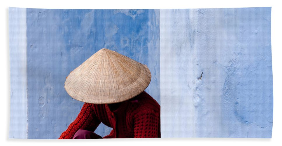 Vietnam Beach Towel featuring the photograph Blue Wall Hawker 02 by Rick Piper Photography
