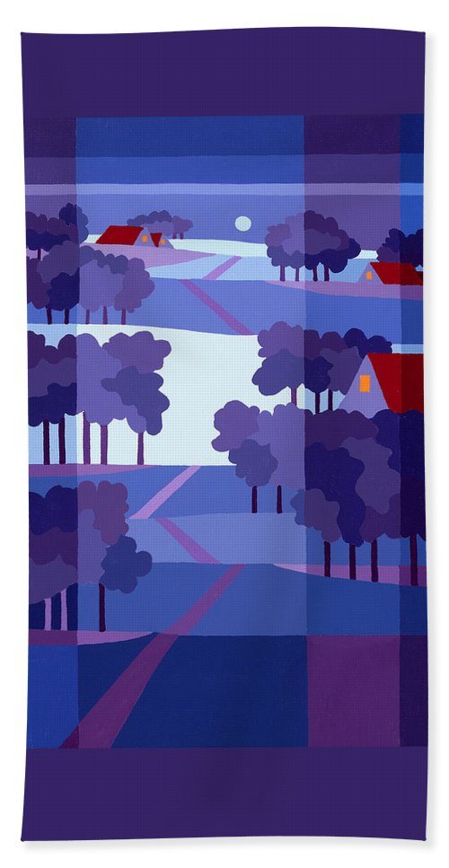 Landscape Beach Towel featuring the painting Blue Winter Farms by Michael Jernegan