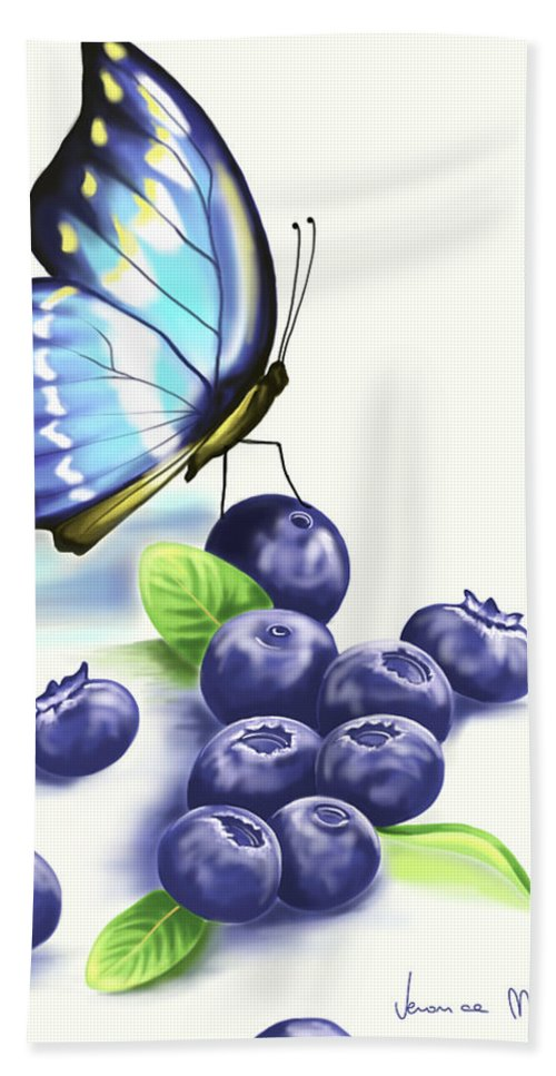 Ipad Beach Towel featuring the painting Blueberries And Butterfly by Veronica Minozzi