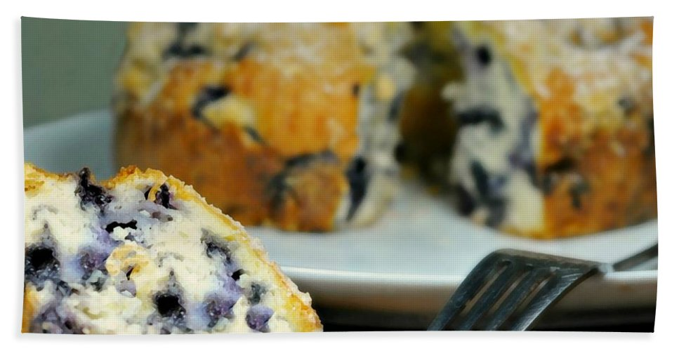 Cake Beach Towel featuring the photograph Blueberry Bundt Cake by Diana Angstadt