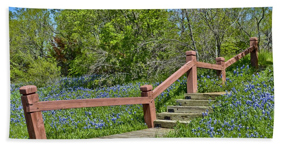 Landscape Beach Towel featuring the photograph Bluebonnets And Stairs by Allen Sheffield