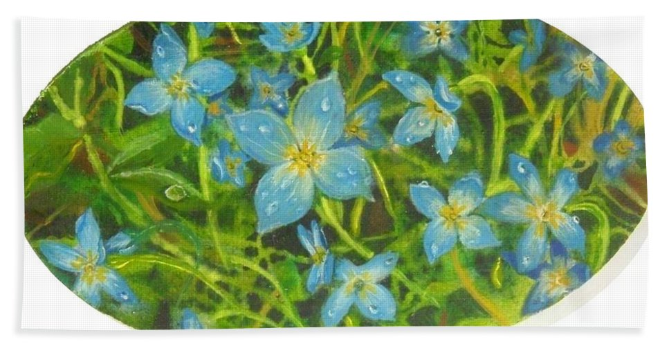 Bluet Beach Towel featuring the painting Bluets Of The Shenandoah by Nicole Angell