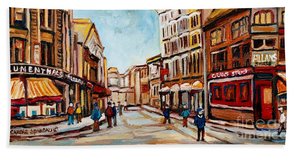 Montreal Beach Towel featuring the painting Blumenthals On Craig Street by Carole Spandau