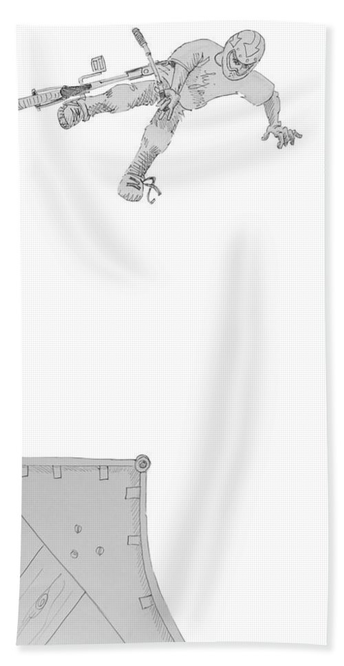 Bmx Beach Towel featuring the drawing Bmx Vert Rider Drawing by Mike Jory