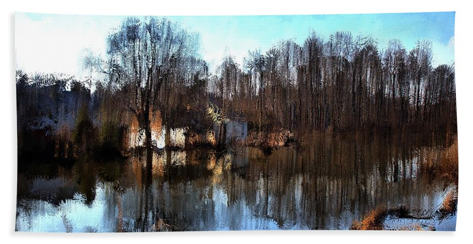 Landscape Beach Towel featuring the mixed media Boat House 2 by Terence Morrissey