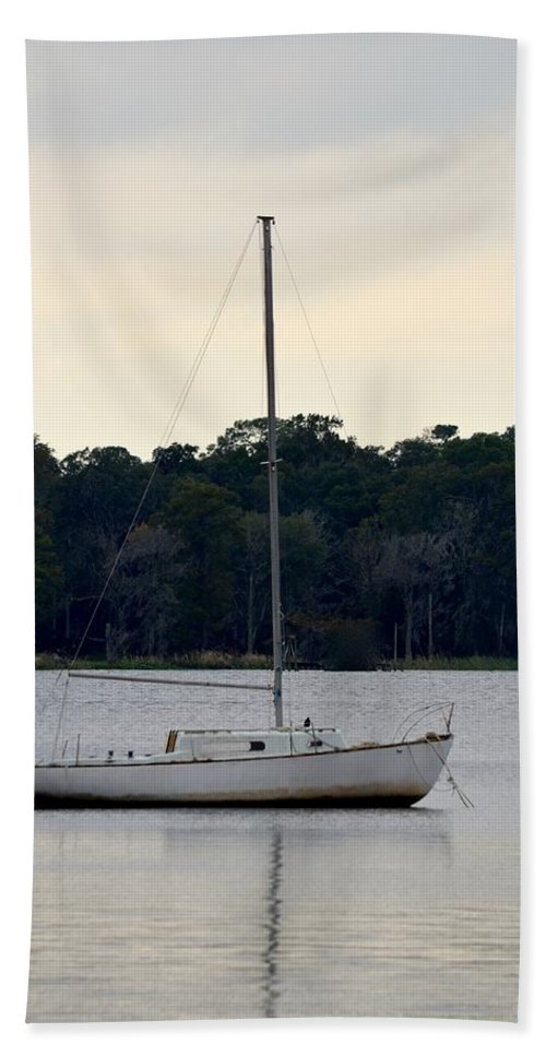 Jacksonville Beach Towel featuring the photograph Boat On Calm Waters by Richard Bryce and Family