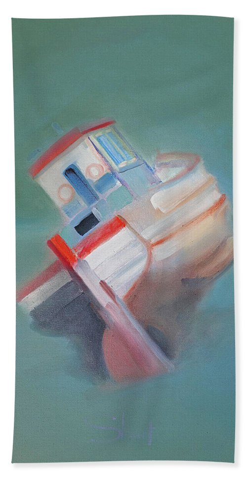 Fishing Boat Beach Towel featuring the painting Boat Retired Tavira by Charles Stuart