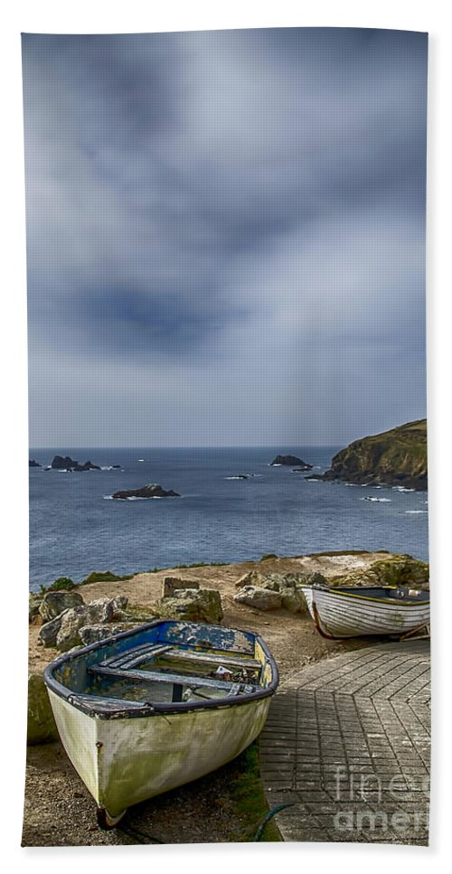 The Lizard Beach Towel featuring the photograph Boats At The Lizard by Chris Thaxter