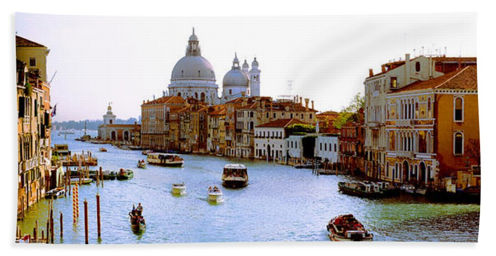 Photography Beach Towel featuring the photograph Boats In A Canal With A Church by Panoramic Images